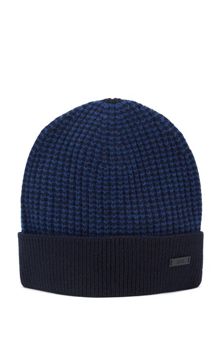 Beanie hat in mouliné wool with contrast edging, Dark Blue