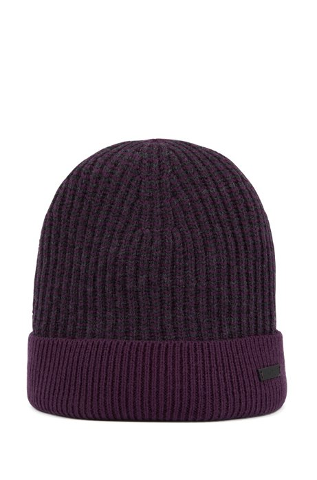 Beanie hat in mouliné wool with contrast edging, Dark Purple