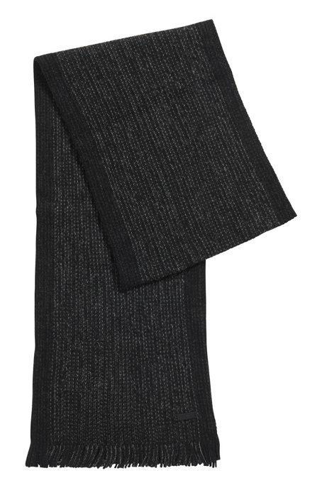 Mouliné-wool scarf with block-stripe border, Open Grey