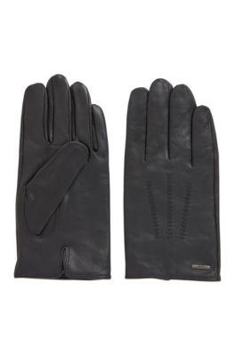 Handschuhe aus Nappaleder mit Innenfutter und Naht-Details, Schwarz