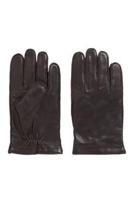 Handschuhe aus Leder mit Logo-Prägung und Innenfutter aus Woll-Mix, Dunkelbraun