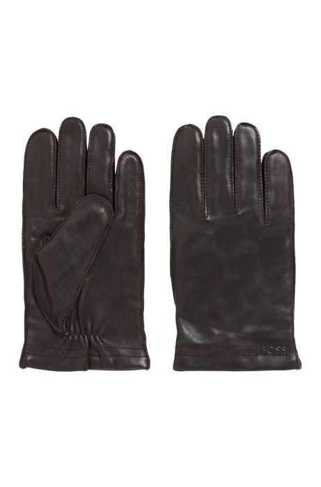 Logo-embossed gloves in lambskin with wool-blend lining, Dark Brown