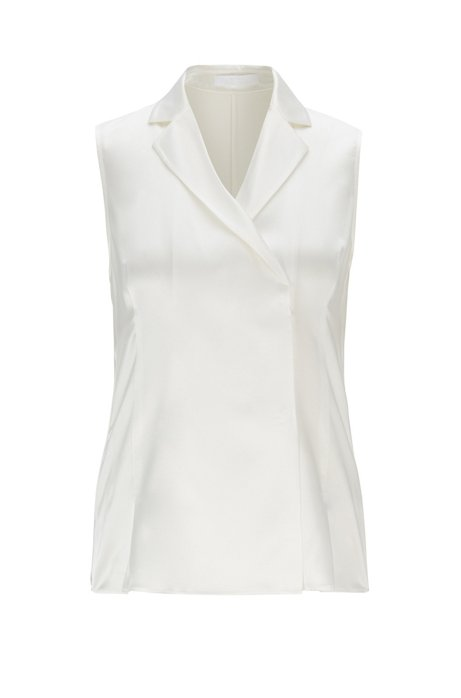 Sleeveless blouse in stretch silk with double-breasted closure, Natural