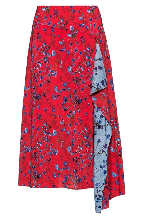 Cornflower print A-line skirt with volant detail, Patterned