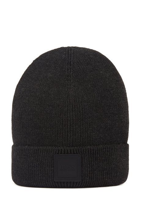 Beanie hat with turnback hem and silicone logo , Black