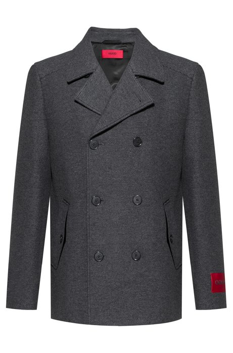 Wool-blend caban jacket with red sleeve label, Dark Grey