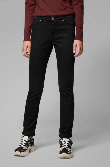 Jean Slim Fit en denim noir intense, Noir