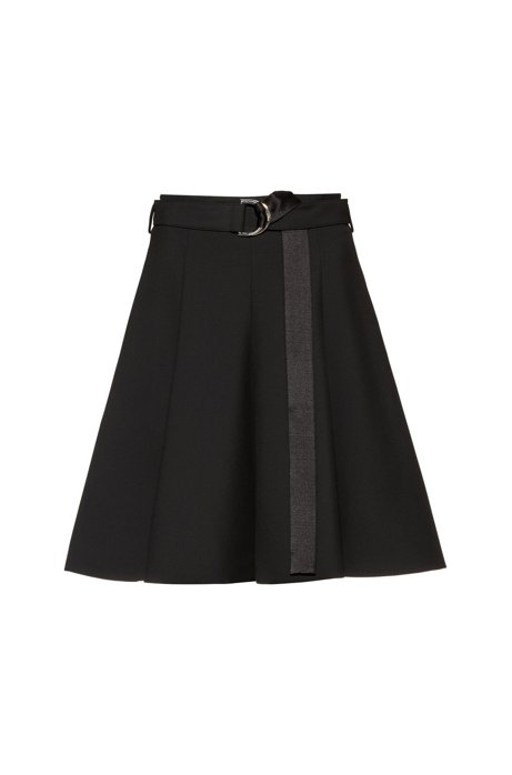 Regular-fit skirt with D-ring belt and side pockets, Black