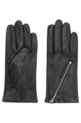 Handschoenen van lamsleer met asymmetrische ritssluiting, Zwart