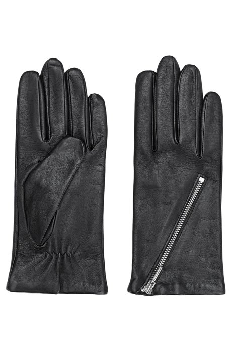 Gloves in lamb leather with asymmetric zip, Black