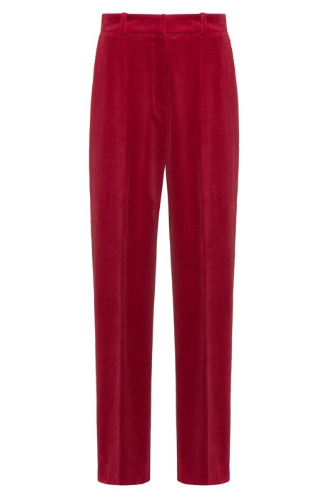 Wide-leg trousers in stretch-cotton corduroy, Dark Red