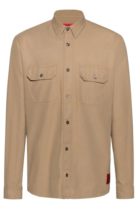Relaxed-fit overshirt in cotton twill with signature patch, Beige
