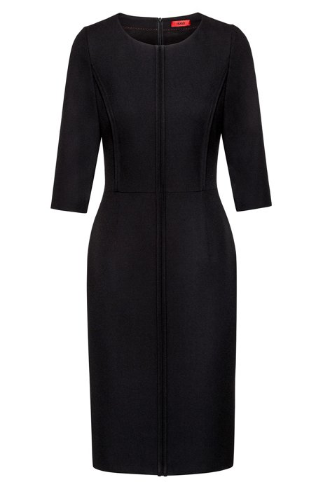 Pencil dress in crepe with front piping, Black