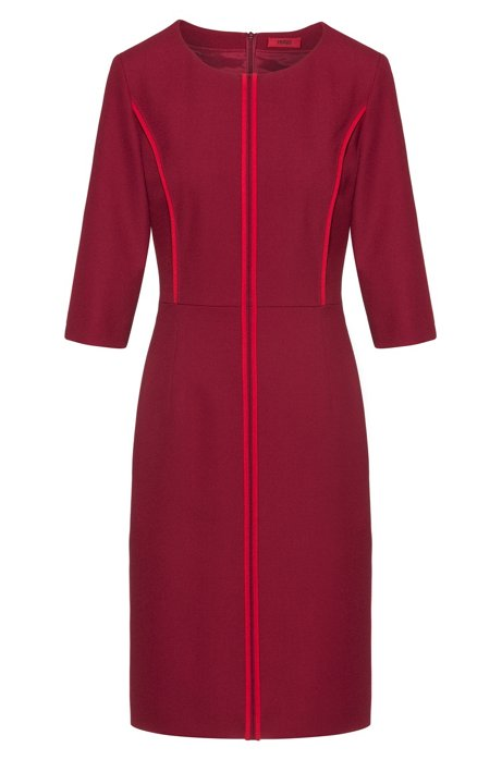 Pencil dress in crepe with front piping, Red