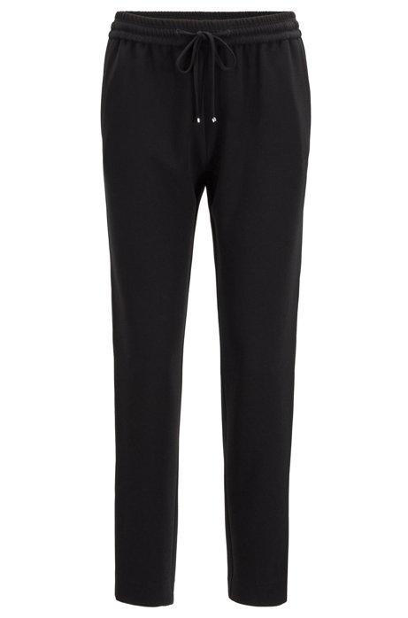 Regular-fit cropped jogging trousers in crinkle crepe, Black