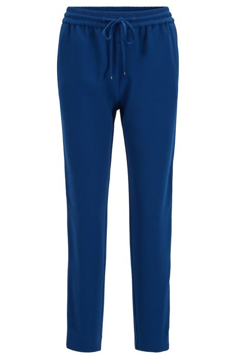 Kortere regular-fit joggingbroek van gekreukte crêpe, Blauw