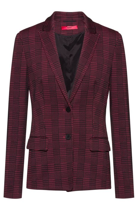 Regular-fit jacket in checked fabric with slit cuffs, Patterned
