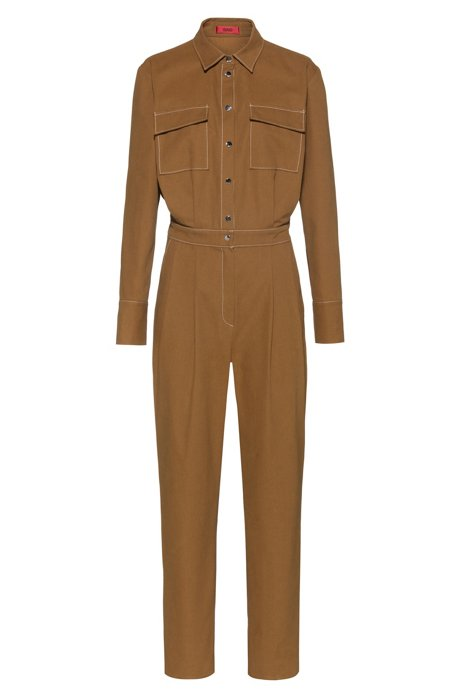 Jumpsuit in cotton canvas with press-stud closure, Brown