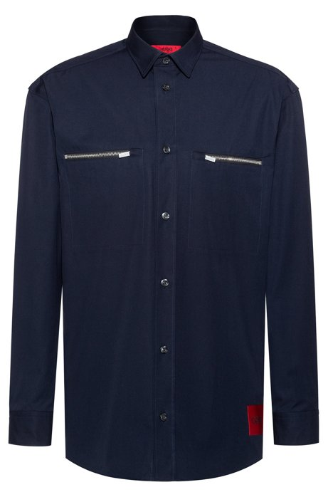 Oversized-fit shirt in cotton with zipped chest pockets, Dark Blue