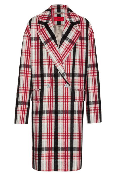 Relaxed-fit statement coat in a wool blend, Patterned