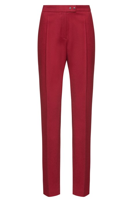 Pantalones pitillo en lana virgen elástica con detalles de metal, Rojo