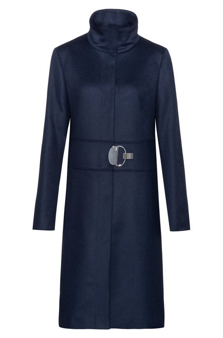 Stand-collar coat in a wool blend with cashmere, Dark Blue