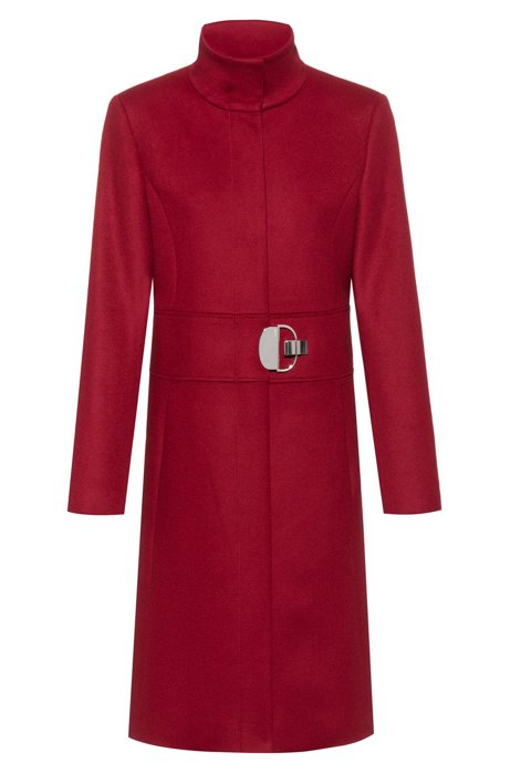 Stand-collar coat in a wool blend with cashmere, Red