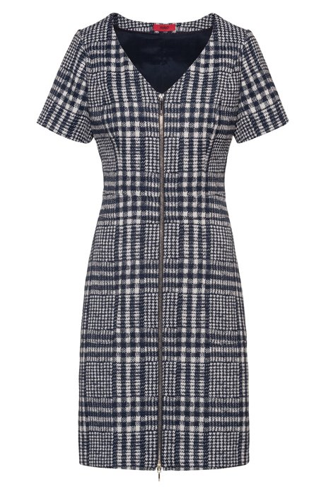 Glen-check A-line dress with full front zip, Patterned