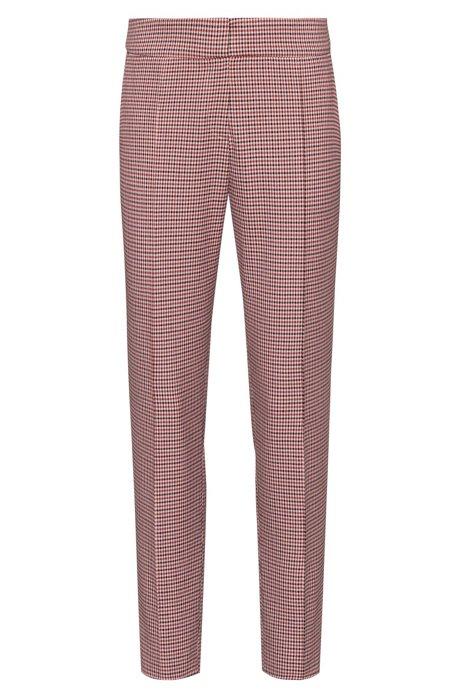 Slim-fit broek met fijn pied-de-poule-dessin, Bedrukt