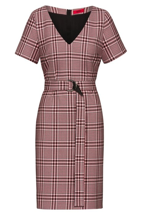 Pencil dress in checked stretch fabric with D-ring belt, Patterned