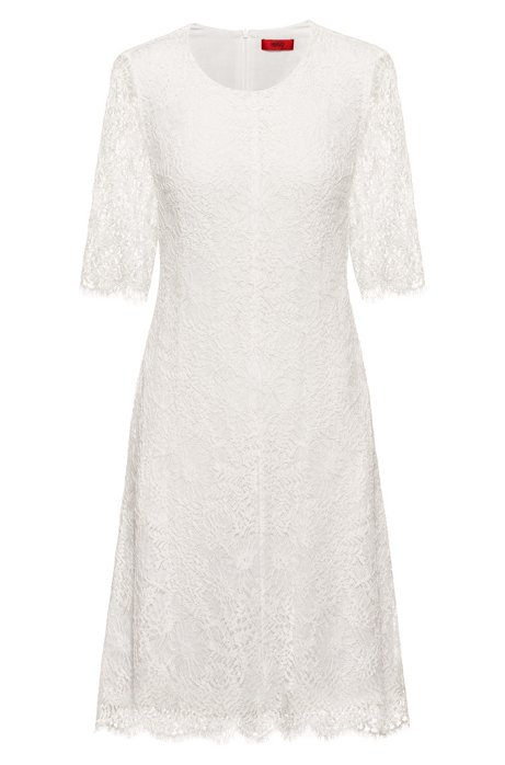 Midi dress in lace with three-quarter-length sleeves, White