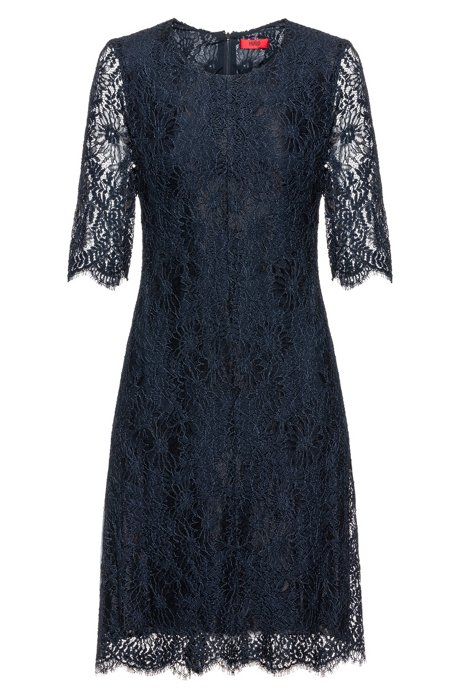 Midi dress in lace with three-quarter-length sleeves, Dark Blue