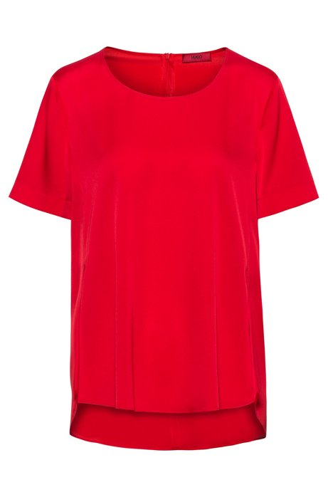 Regular-fit top in stretch silk with AMF stitching , Red