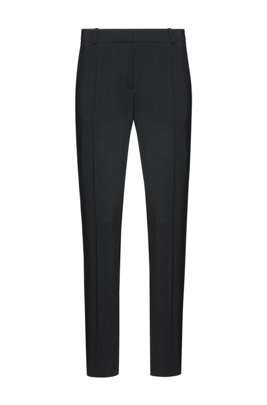 Pantalon en laine vierge stretch légèrement peignée, Noir