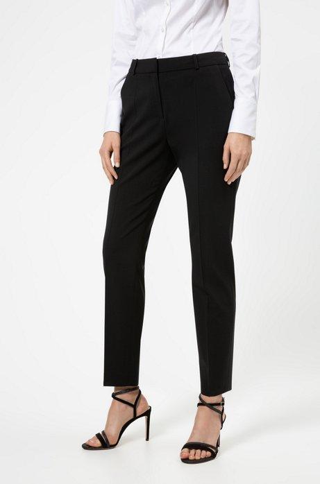 Hose aus leicht gekämmter Stretch-Schurwolle, Schwarz