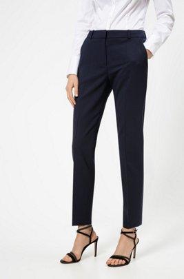 Hose aus leicht gekämmter Stretch-Schurwolle, Dunkelblau