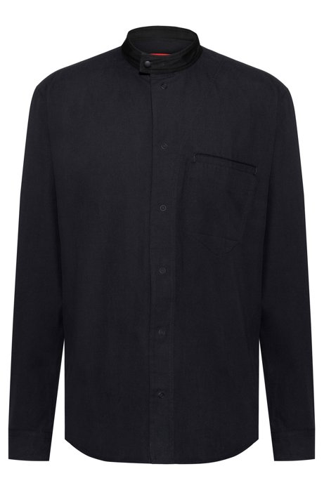 Relaxed-fit cotton shirt with press-stud stand collar, Black