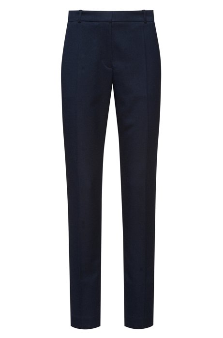 Cigarette trousers in micro-patterned stretch fabric, Dark Blue