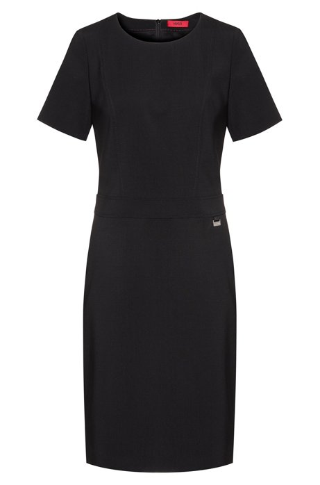 Pencil dress in worsted stretch wool with seam detailing, Black