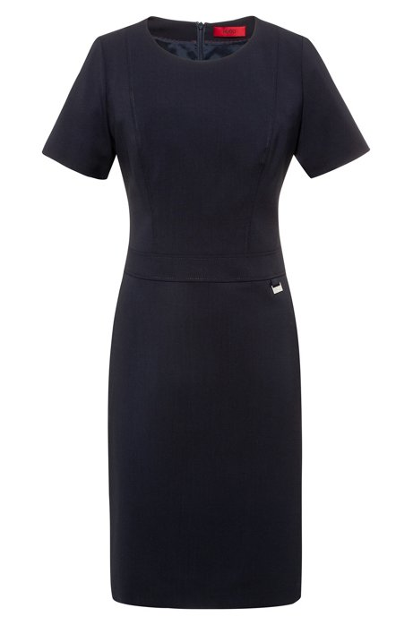 Pencil dress in worsted stretch wool with seam detailing, Dark Blue