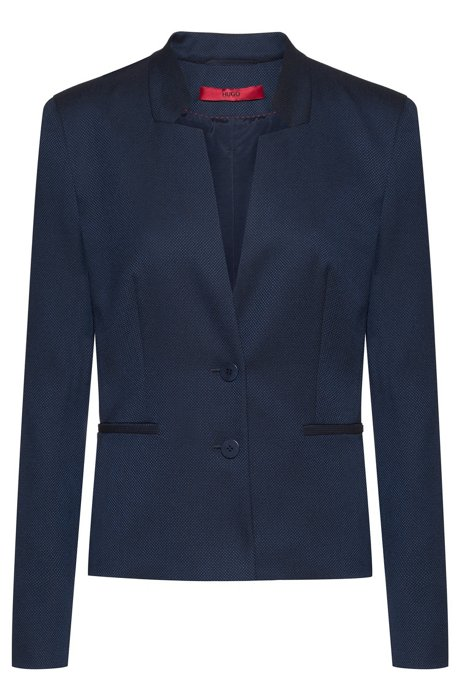 Stand-collar jacket in stretch fabric with piped pockets, Dark Blue