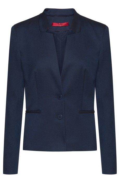 Veste à col montant en tissu stretch, avec poches passepoilées, Bleu foncé