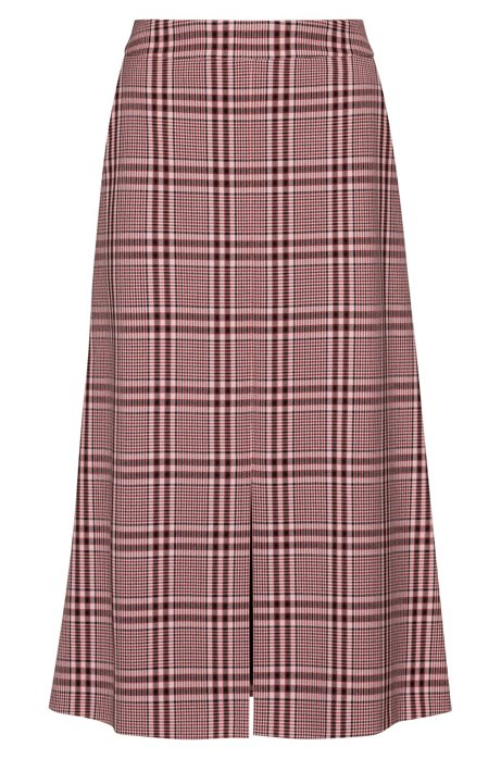 Regular-fit A-line skirt with colourful check, Patterned