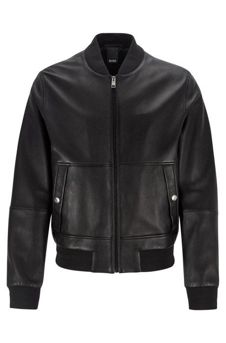 Regular-fit bomber jacket in nappa leather, Black