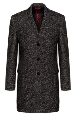 Slim-fit coat with two-tone diagonal structure, Patterned