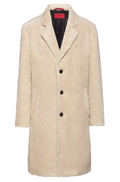Cappotto relaxed fit in peluche con fodera interna con logo, Naturale