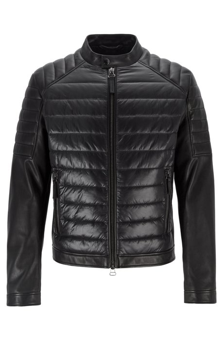Regular-fit leather jacket with quilted-fabric panel, Black