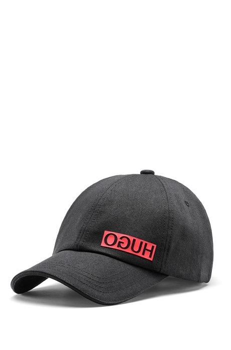 Cotton-gabardine cap with reversed logo, Black