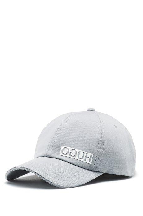 Cotton-gabardine cap with reversed logo, Light Grey