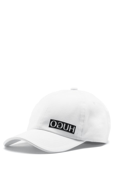 Cotton-gabardine cap with reversed logo, White